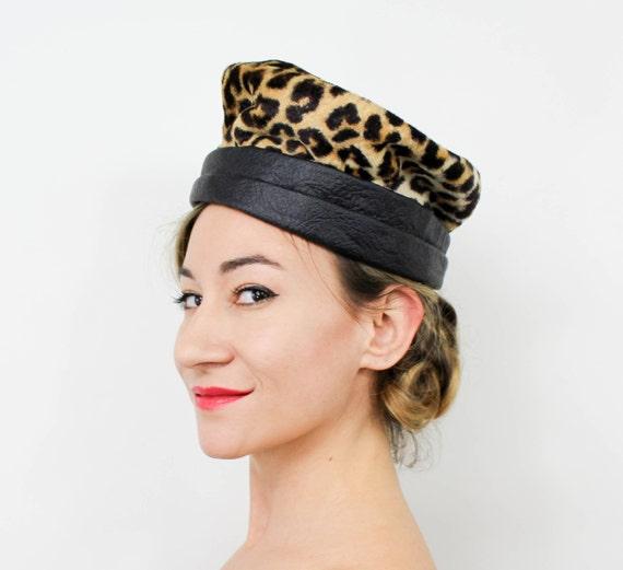 1960s Leopard Hat   60s Faux Leopard Hat   An Orig