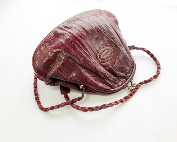 1980s Brown Eel Skin Leather Shoulder Bag   80s M… - image 3