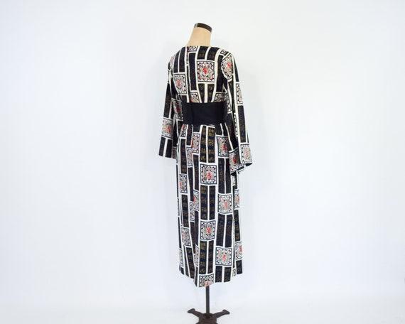 1960s Black & White Asian Design  Dress | 60s Bla… - image 7