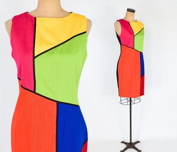 1980s Color Block Dress | 80s Mondrian Style Dress