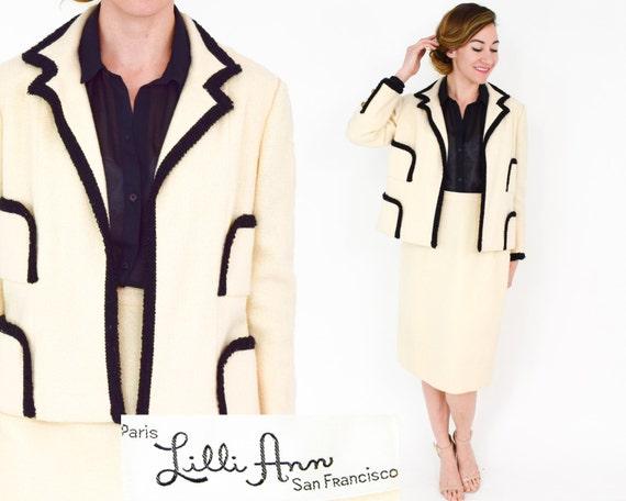 Lilli Ann | 1960s White & Black Wool Suit | 60s C… - image 1