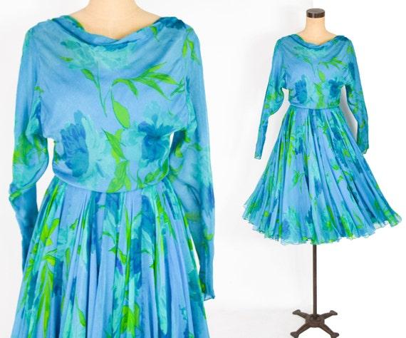 1950s Galanos Dress Turquoise Silk Chiffon Cocktai