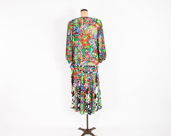 1980s Colorful Diane Freis Blouse & Skirt | 80s O… - image 9