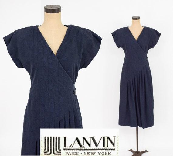 1980s Navy Cotton Dress | 80s Navy Cotton Wrap Dre
