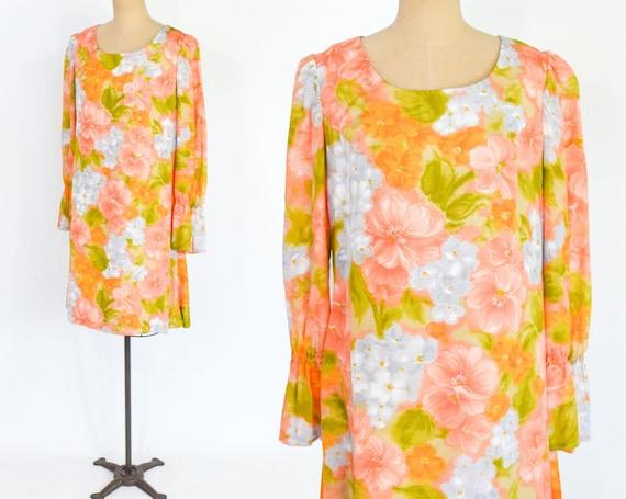1960s Orange Trapeze Party Dress | 60s Orange Flor