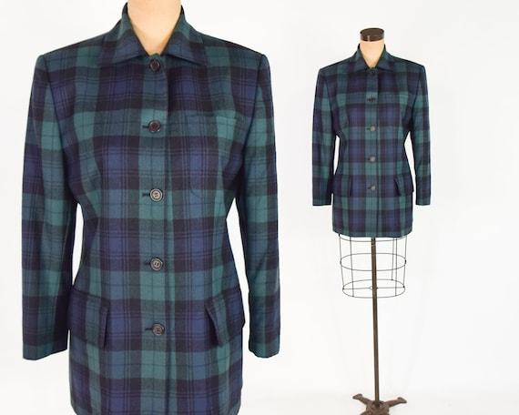 1990s Green & Navy Plaid Blazer | 90s Burberrys Pl