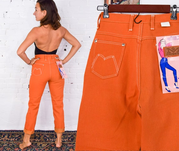 1960s Orange Skinny Jeans | 60s Orange Denim Jeans