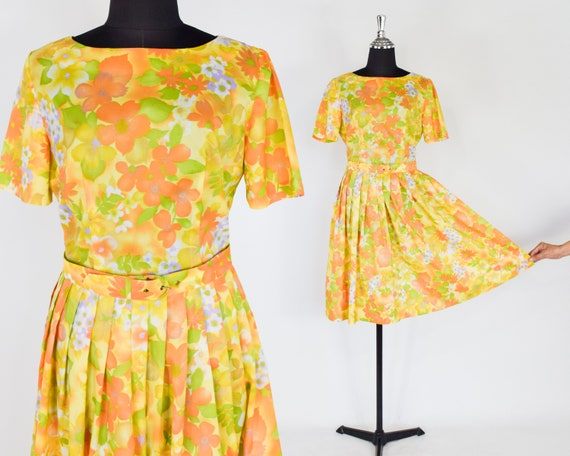 1950s Yellow Flowered Dress | 50s Yellow & Orange
