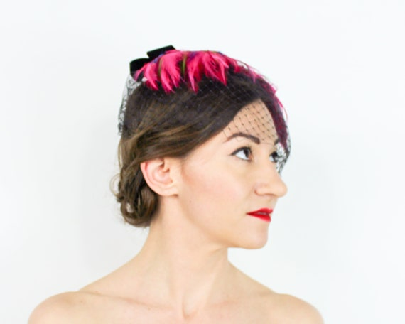 1950s Pink Feather Fascinator | 50s Magenta Feath… - image 6