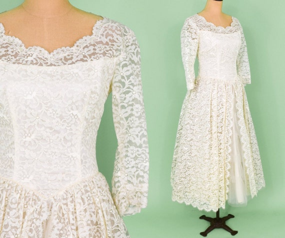 50s Ivory Lace Bridal Gown Tea Length Lace Dress New Look Wedding Dress Medium
