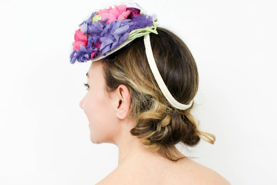 1940s Purple Flower Fascinator | 40s Flower Fascin