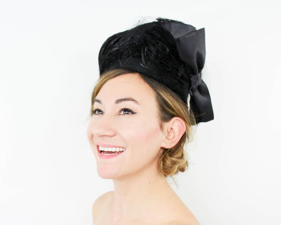 1940s Black Wool & Feather Hat | 40s Black Feather