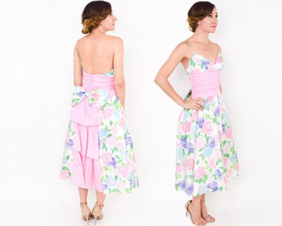 Gunne Sax   1980s Pink Print Party Dress   80s Pi… - image 5