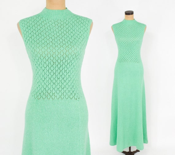 1970s Green Knit Maxi Dress | 70s  Mint Green Maxi