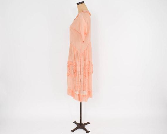 1930s Peach Organza Dress | 30s Peach Cotton Orga… - image 4