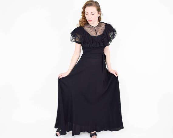 1940s Black Crepe Evening Dress | 40s Black Lace … - image 4