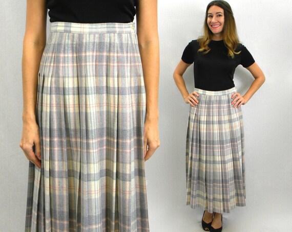 80s Pendleton Grey Pleated Skirt | Pastel Plaid Pl