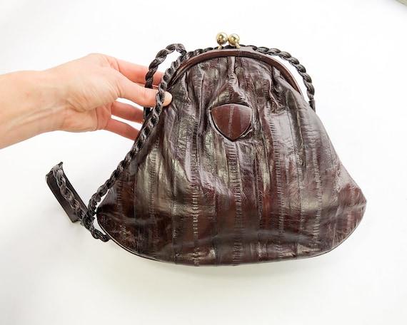 1980s Brown Eel Skin Leather Shoulder Bag   80s M… - image 5