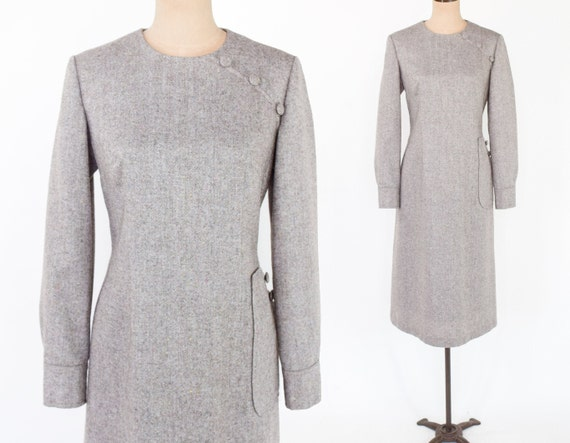1950s Beige Wool Tweed Dress | 50s Beige Tweed She