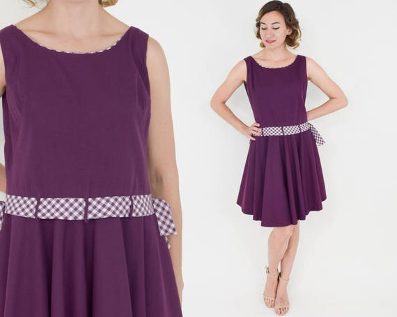 1960s Purple Cotton Dress | 60s Purple Sleeveless