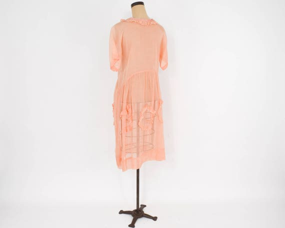 1930s Peach Organza Dress | 30s Peach Cotton Orga… - image 7