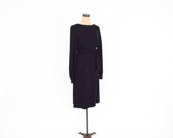 1960s Black Crepe Evening Dress | 60s Black Crepe… - image 5