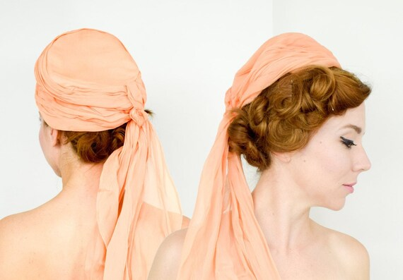 1950s Peach Silk Chiffon Hat   50s Orange Silk Ch… - image 1