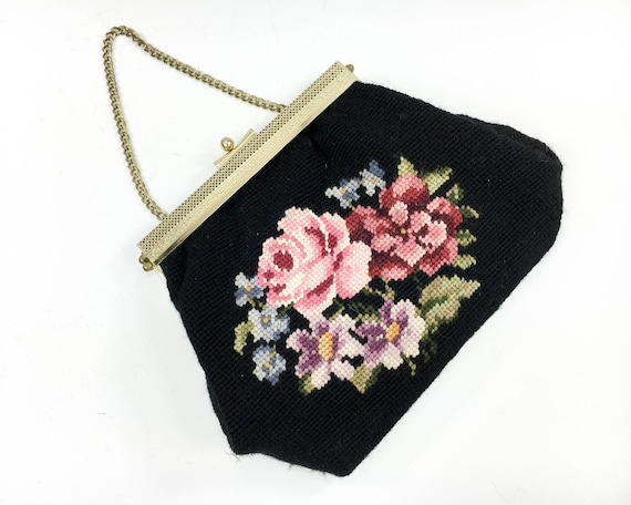 1950s Black Needlepoint Purse | 50s Black Floral N