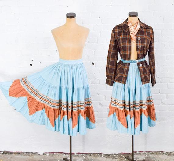 1950s Turquoise Blue Patio Skirt | 50s Blue Fiesta