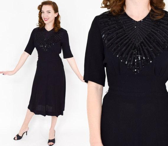 1940s Black Silk Crepe  Dress | 40s Black & Sequin