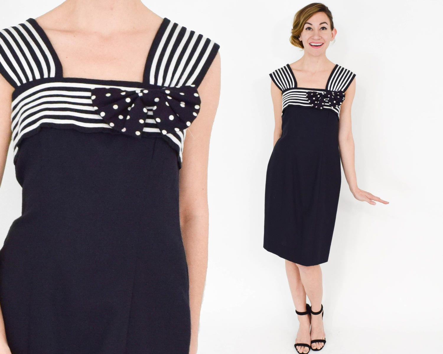 80s Dresses   Casual to Party Dresses 1980S Black Summer Sheath Dress  80S  White Striped Etoile Collection Medium $24.00 AT vintagedancer.com