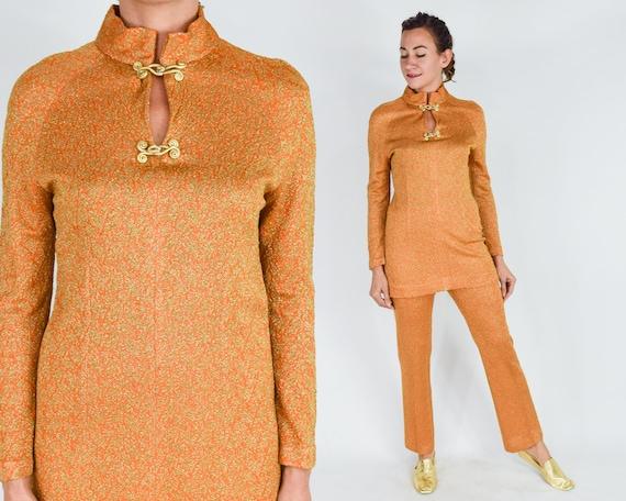 1970s  Orange & Gold Pantsuit Set   70s Orange Kni