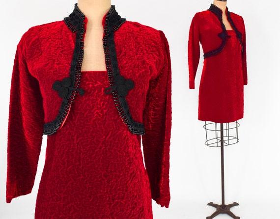 1960s Red Velvet Dress & Jacket   60s Red Velvet M