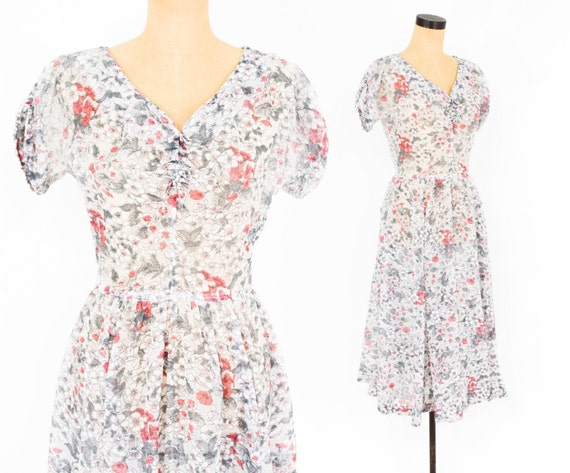 1950s White Floral Dress | 50s White Nylon Flowere