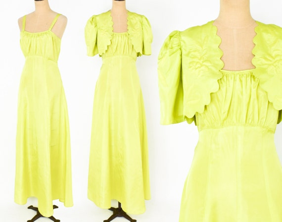 1930s Yellow Evening Dress Set | 30s Chartreuse Dr