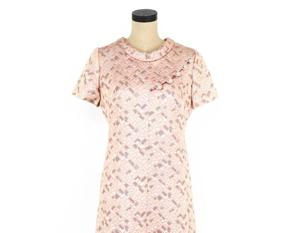 1960s Peach Brocade Dress | 60s Pink Metallic Bro… - image 6