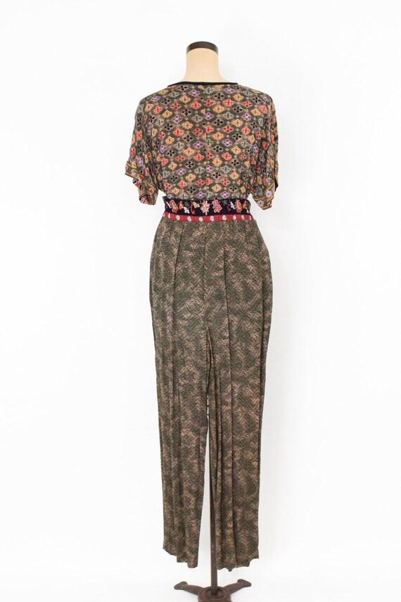 1980s Brown Rayon Pant Jacket Set | 80s Tiger Pri… - image 5