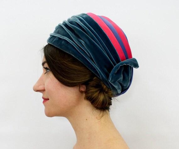 1950s  Blue Velvet Turban | 50s Royal Blue & Magen