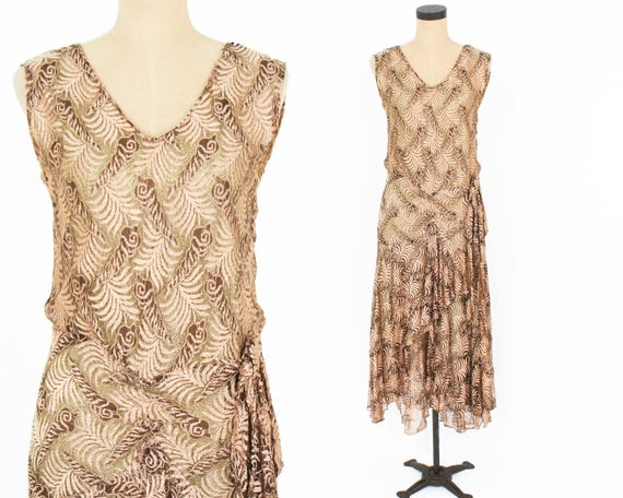 1920s Gold Lace Evening Dress | 20s Metallic Gold