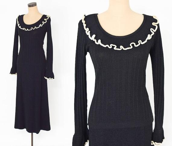 1970s Black Maxi Sweater Skirt Set | 70s Black Kni