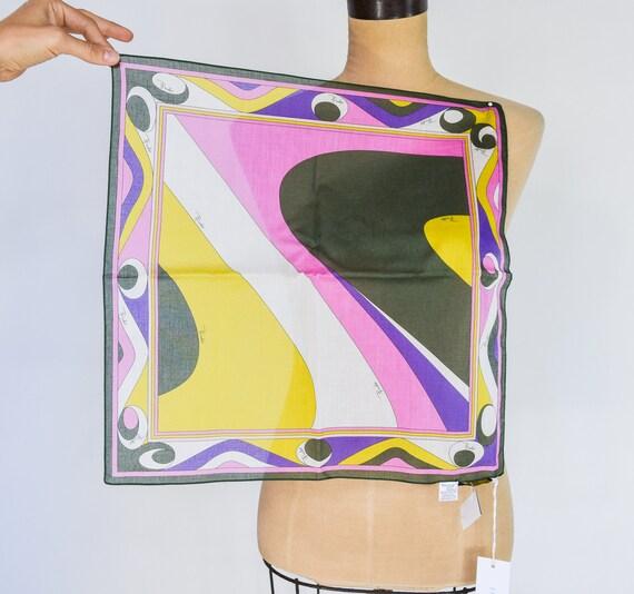 1980s Pucci Cotton Scarf | 80s Colorful Geometric