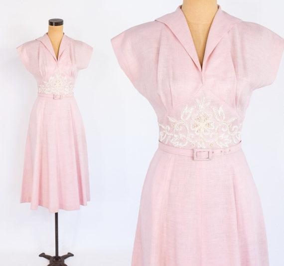 50s Pink Cotton Dress   Pink & White Soutache  Dre