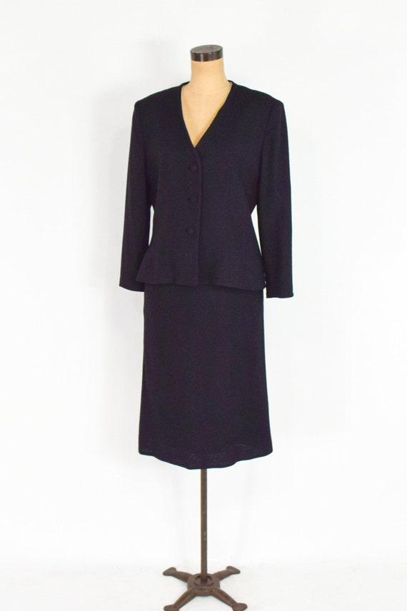 Lilli Ann | 1970s Black Wool Crepe Suit | 70s Bla… - image 5