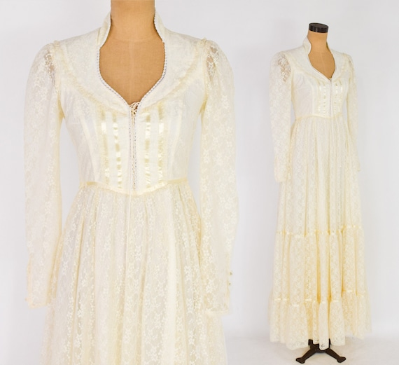 1970s Ivory Lace Maxi Dress | 70s Creme Lace Peasa
