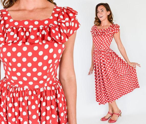 1940s Red & White Polka Dot Dress | 40s Red Polka