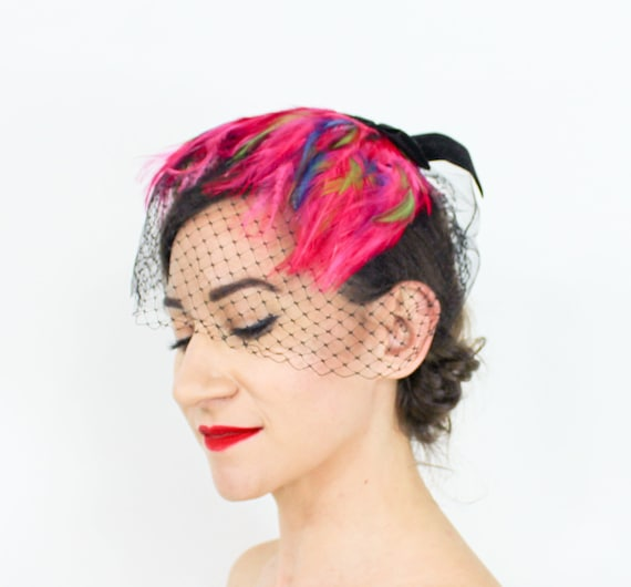 1950s Pink Feather Fascinator | 50s Magenta Feath… - image 1