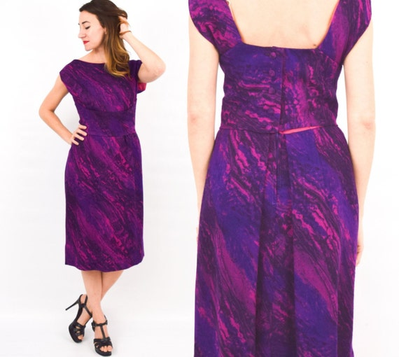 1950s Purple Wool Dress | 50s Purple Sleeveless Wo