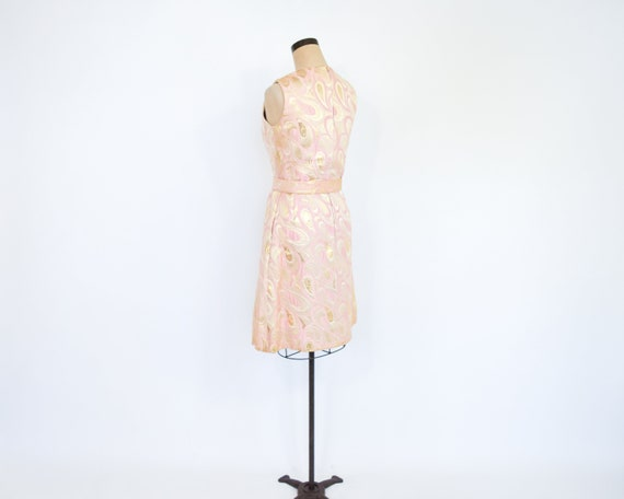 1960s Pink & Gold Metallic Brocade Dress | 60s Pi… - image 6