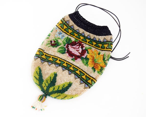 1900s Floral Beaded Handbag | Beaded Drawstring Ba