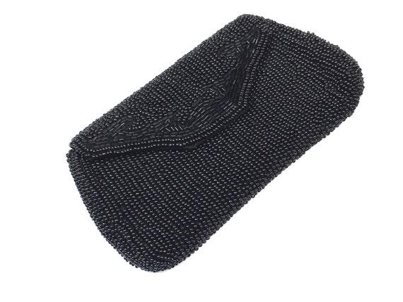 1950s Black Beaded Clutch | 50s Black Beaded Eveni